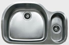 "Ukinox D537802010 31"" Undermount Double Bowl Sink - 18-Gauge: Stainless Steel, Big Bowl On"