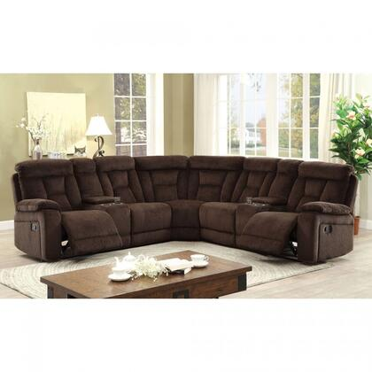 """Furniture of America Maybell Collection CM6773XX-SECTIONAL 112"""" 3-Piece Reclining Sectional with Left Arm Facing Console Loveseat, Corner Wedge and Right Arm Facing Console Loveseat in"""