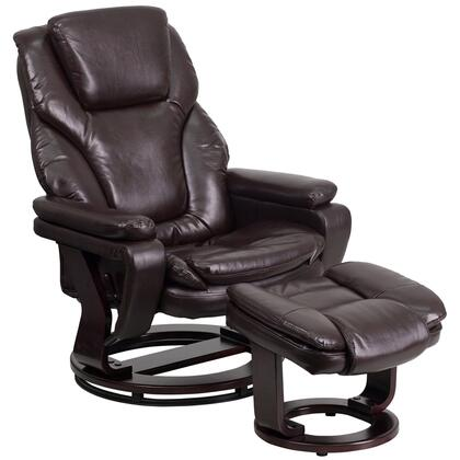 Flash Furniture BT70222FLAIRGG Contemporary Recliner and Ottoman with Swiveling Mahogany Wood Base