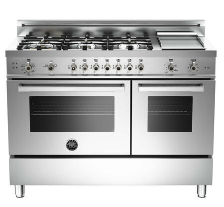 "Bertazzoni PRO486GGASX 48"" Professional Series Gas Freestanding Range with Sealed Burner Cooktop, 3.6 cu. ft. Primary Oven Capacity, Storage in Stainless Steel"