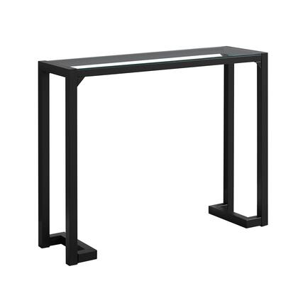 """Monarch I210X 42"""" Hall Console with Satin Metal Base and Tempered Glass Top in"""