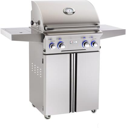 "American Outdoor Grill 24NCLX 24"" Series Freestanding Grill With 2 Burners, 304 Grade Stainless Steel, 432 sq inches Cooking Surface, in Stainless Steel"