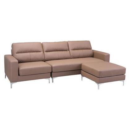 "Zuo 10023A Versa 103"" Sectional Sofa with Slim Stainless Stainless Legs, Square Arms, and Soft Leatherette Upholstery"