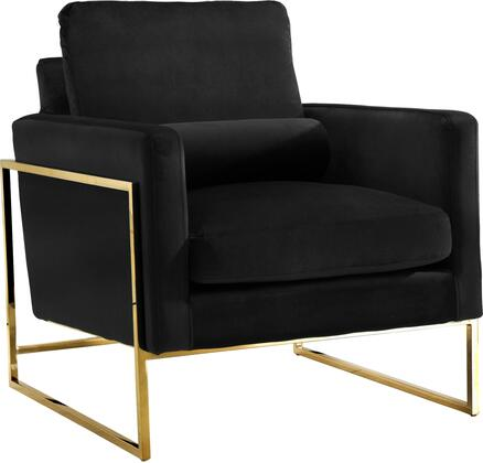 Meridian Mila 678BGN-C Chair with Velvet Upholstery, Gold Stainless Steel Base and Throw Pillows in