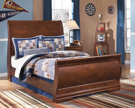 Signature Design by Ashley B178BED Wilmington Collection Size Sleigh Bed: Dark Red/Brown