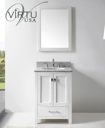 "Virtu USA GS-50024-WM-WH Virtu USA 24"" Caroline Avenue Single Sink Bathroom Vanity in White with Italian Carrara White Marble"