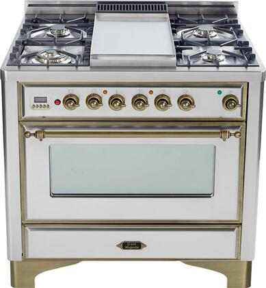 """Ilve UM90FDVGGY 36"""" Majestic Series Freestanding Gas Range with 4 Sealed Burners, Griddle, Digital Clock and Timer, 3.5 cu. ft. Oven Capacity, Infrared Grill-Baking or Broiler, and Backguard"""