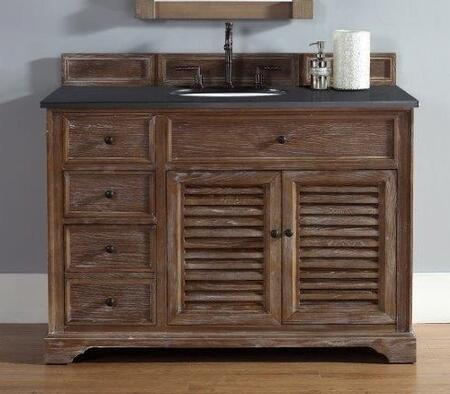 "James Martin Savannah 2381045211G 48"" Single Vanity with 1 Shelf, 2 Doors, 3 Drawers, 1 Sink Included, Antique Iron Hardware, Granite Top and Solid Kiln-Dried Grade A Hardwood in Driftwood Color"