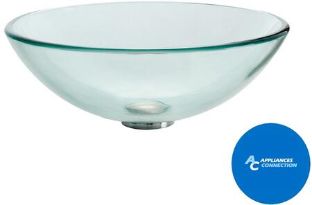 """Kraus CGV1011412MM1007 Singletone Series 14"""" Round Vessel Sink with 12-mm Tempered Glass Construction, Easy-to-Clean Polished Surface, and Included Ramus Faucet, Clear Glass"""