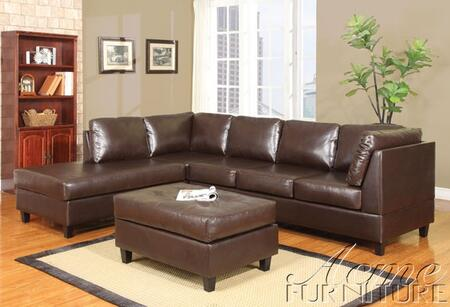 Acme Furniture 50192 Lisbon Series Contemporary Bycast Leather Ottoman