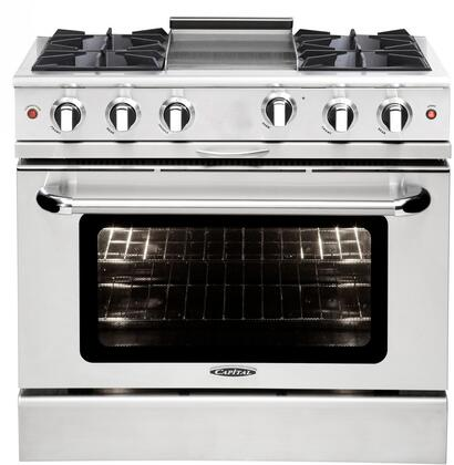 "Capital MCOR364GN 36"" Culinarian Series Gas Freestanding Range with Open Burner Cooktop, 4.9 cu. ft. Primary Oven Capacity, in Stainless Steel"