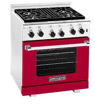American Range ARR304BR Heritage Classic Series Natural Gas Freestanding Range with Sealed Burner Cooktop, 4.8 cu. ft. Primary Oven Capacity, in Red