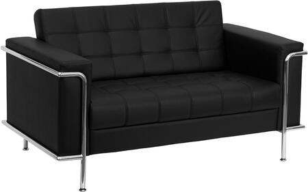 """Flash Furniture HERCULES Lesley Series ZB-LESLEY-8090-LS-XX-GG 59"""" Contemporary Leather Love Seat with Encasing Frame, Tufted Seat and Back, and Integrated Stainless Steel Legs"""