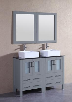 """Bosconi AGR224CBEBGX XX"""" Double Vanity with Black Tempered Glass Top, Square White Ceramic Vessel Sink, F-S02 Faucet, Mirror, 4 Doors and X Drawers in Grey"""