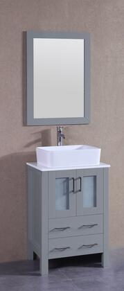 "Bosconi AGR124RCX XX"" Single Vanity with Phoenix Stone Top, Rectangle White Ceramic Vessel Sink, F-S02 Faucet, Mirror, 2 Doors and X Drawers in Grey"