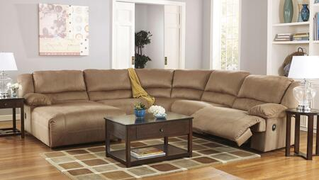 Milo Italia Kaitlyn MI-2570ATMP 5-Piece Sectional Sofa with X Arm Chaise, Two Zero Wall Armless Recliners, Wedge and X Arm Zero Wall Recliner in Mocha