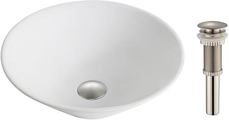 """Kraus KCV143X Elavo Series 17"""" Round Countertop Bathroom Basin Sink with High-Gloss Finish, Easy-to-Clean Surface, and Included Pop-Up Drain"""
