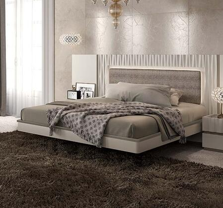 ESF Marina Collection Bed with Eco-Leather Upholstered Headboard and Wooden Slats Frame