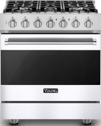 """Viking RVDR33025B 30"""" 3 Series Freestanding Self-Cleaning Dual Fuel Range with 5 Permanently Sealed Burners, 4.7 cu. ft. Oven Capacity, Vari-Speed Dual Flow Convection Oven, SureSpark Ignition System, and 3 Oven Racks, in"""