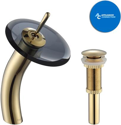 Kraus KGW1700PU10G Waterfall Series Bathroom Vessel Lever Waterfall Faucet with Solid Brass Construction, Top-Quality Cartridge, and Matching Pop-Up Drain, Gold Finish