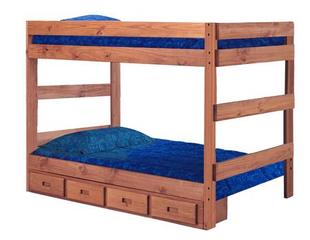 Chelsea Home Furniture 312010-411-X Full Over Full One Piece Bunk Bed, with Rustic Style, Slats, and All Pine Wood Construction in Mahogany Stain
