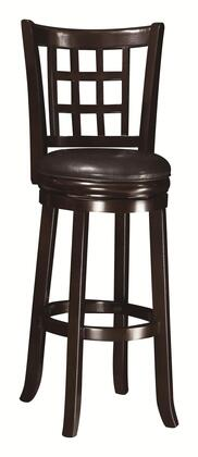 """Coaster 1026ES Dining Chairs and Bar Stools X"""" Swivel Bar Stool with Slightly Flared Legs, Leather-Like Vinyl Upholstery and Wheat Back Pattern in Espresso"""
