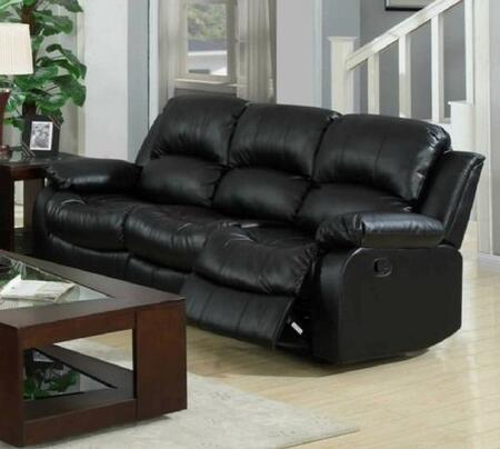 Yuan Tai 1075SBLK Kaden Series Reclining Bonded Leather Sofa