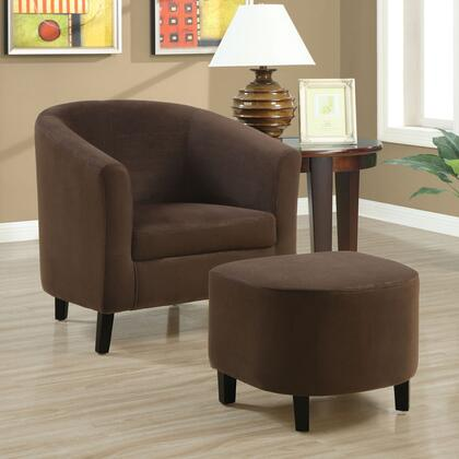 Monarch I8056 Armchair Microfiber Wood Frame Accent Chair