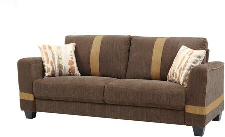 "Glory Furniture 81"" Sofa with Pocketed Coil Foam Encased Seat Cushions, Throw Pillows and Fabric Upholstery in"