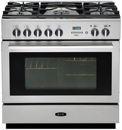 AGA APRO36DFBNSS PRO Plus Series Dual Fuel Freestanding Range with Sealed Burner Cooktop, 4.9 cu. ft. Primary Oven Capacity, Storage in Stainless Steel
