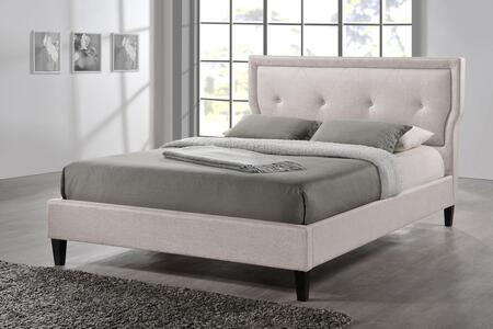 Wholesale Interiors BBT6421LB Marquesa Wood Platform Bed with Polyurethane Foam Padding, Button Tufted Headboard, Fabric Upholstery Made of Polyester-Linen Blend, Hardwood, Plywood and MDF Frame