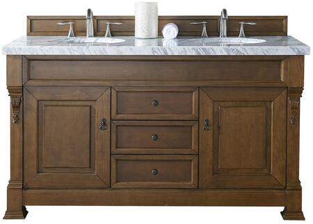 "James Martin Brookfield Collection 147-114-5671- 60"" Country Oak Double Vanity with Two Soft Closing Doors, Three Soft Closing Drawers, Backsplash, Hand Carved Filigrees and"