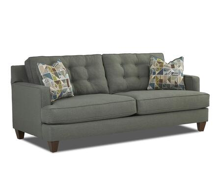"""Klaussner Dundi Collection K67630-S-ML- 82"""" Sofa with Max Lagoon Body Fabric, Button Tufted Back, Tapered Legs and Two X Accent Pillows"""