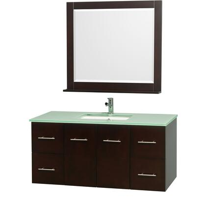"""Wyndham Collection WCV00948 48"""" Single Wall Mount Vanity with Square Undermount Porcelain Sink, 4 Drawers, 2 Doors, and Includes Matching Mirror in"""