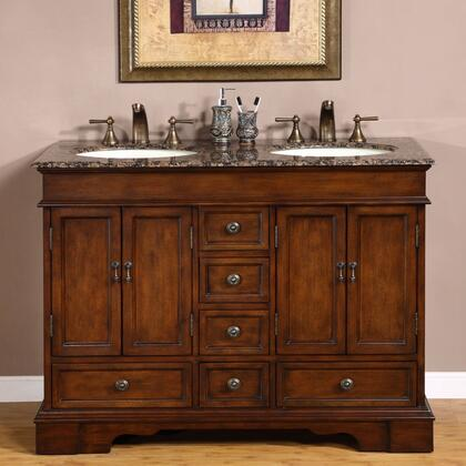 Silkroad Exclusive HYP-0715-BB-UIC Ashley Double Sink Cabinet with Drawers, Doors, Baltic Brown Granite Top and Undermount Ivory Ceramic Sinks (3-Hole) in Brown Finish