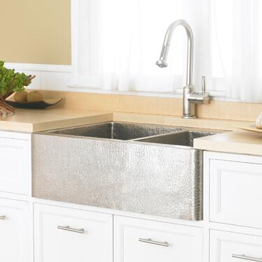 "Native Trails CPS57 Cocina Sink with 3.5"" Drain, Recycled Copper, Undermount and Finished in Brushed Nickel"