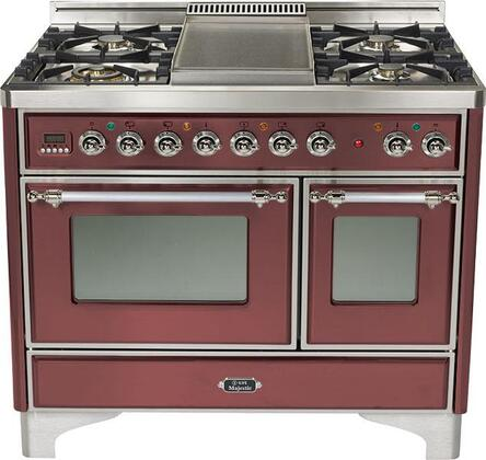 Ilve UMTD100FMPRB Majestic Techno Series Dual Fuel Freestanding Range with Sealed Burner Cooktop, 2.44 cu. ft. Primary Oven Capacity, Warming in Burgundy Red