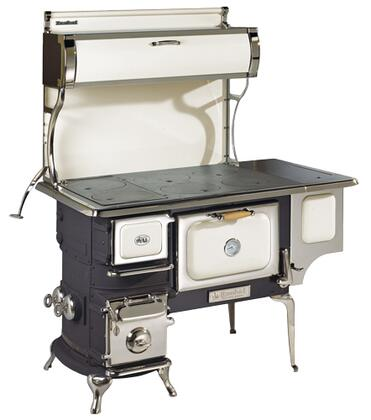 "Picture of 1903-000-IVY 48"" Oval Woodburning Cookstove with Reservoir 2.4 cu. ft. Oven Capacity 50 000 BTU/hr Heat Output Solid Cast Iron Cooking Surface:"