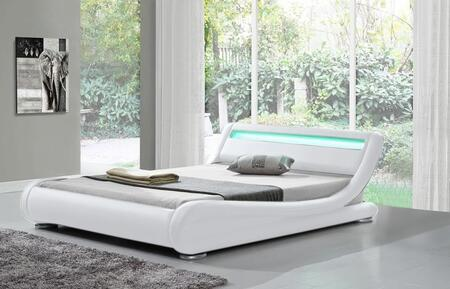 """Ladeso Edgewater Collection SF-808-X-W 91"""" Bed with LED Lights, Low Profile, and Leatherette Upholstery in White"""