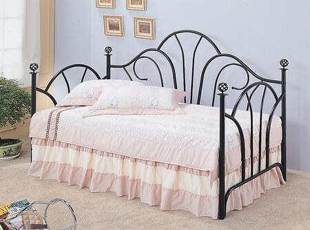 Coaster Vine Collection 2613 Twin Size Daybed with Filigree Finial Knobs, High Fan Shaped Back and Metal Construction in