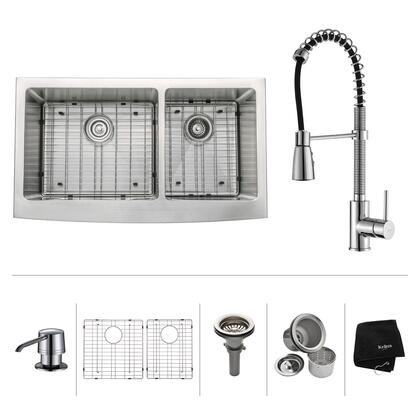 "Kraus KHF20336KPF1612KSD30 Precision Series 36"" Apron Front Double-Bowl Kitchen Sink with Stainless Steel Construction, NoiseDefend,"