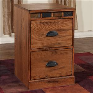 "Sunny Designs Sedona Collection 2863RO-X 19"" File Cabinet with X Drawers, Slate Accents and Distressed Detailing in Rustic Oak Finish"