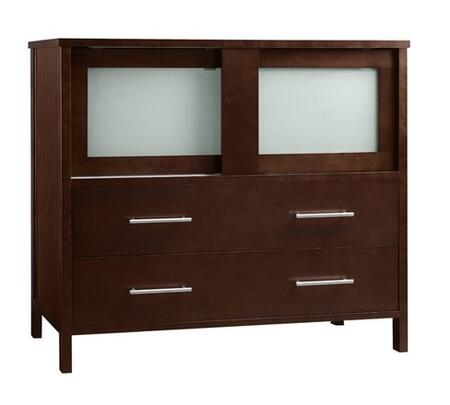 "Ronbow 03583-6- Minerva 36"" Wood Vanity Cabinet with Two Frosted Glass Sliding Doors and Two Bottom Drawers:"