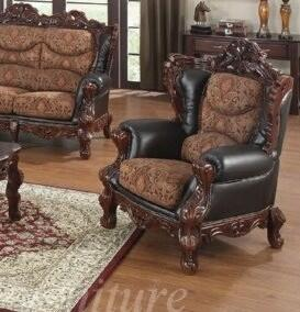 Yuan Tai EM3620C-CH Empire Series Leather Loveseat with Wood Frame