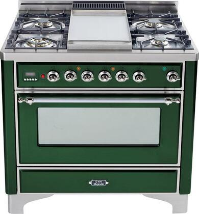 Ilve UMT906VGGVS Majestic Techno Series Gas Freestanding Range with Sealed Burner Cooktop, 3.55 cu. ft. Primary Oven Capacity, Warming in Emerald Green