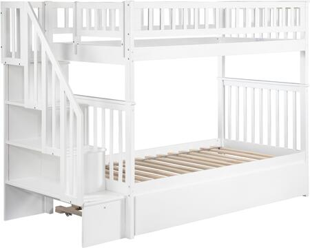 Atlantic Furniture AB5665 Woodland Staircase Bunk Bed Twin Over Twin With Urban Trundle Bed