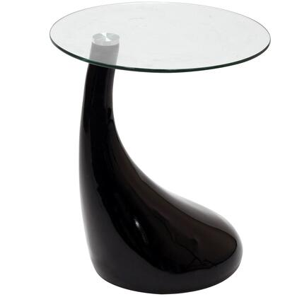 """Modway EEI-564 Teardrop 21"""" Side Table with Fiberglass Body, Clear Tempered Glass Top, Arching Curve and Sleek Body"""