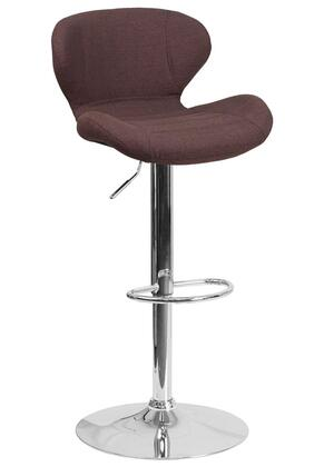 "Flash Furniture CH-321FABRIC 34""-42"" Fabric Upholstered Barstool with Chrome Base, Adjustable Height and Swivel Seat in"