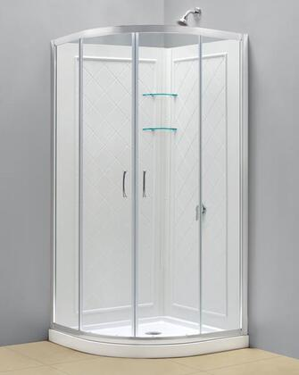 DreamLine DL-61 Solo Sliding Shower Enclosure, Base and QWALL-4 Shower Backwalls Kit in