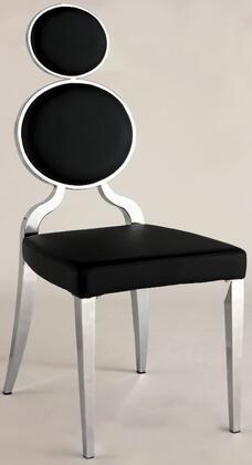 Chintaly OPRAHSCBLK Oprah Series Modern Vinyl Metal Frame Dining Room Chair